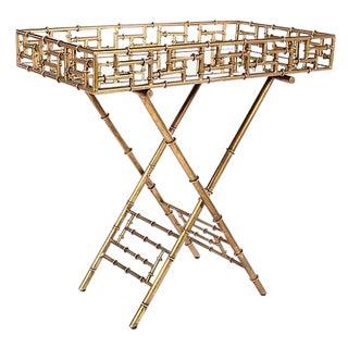 Gilt Metal Bamboo Style Bar Tray Table