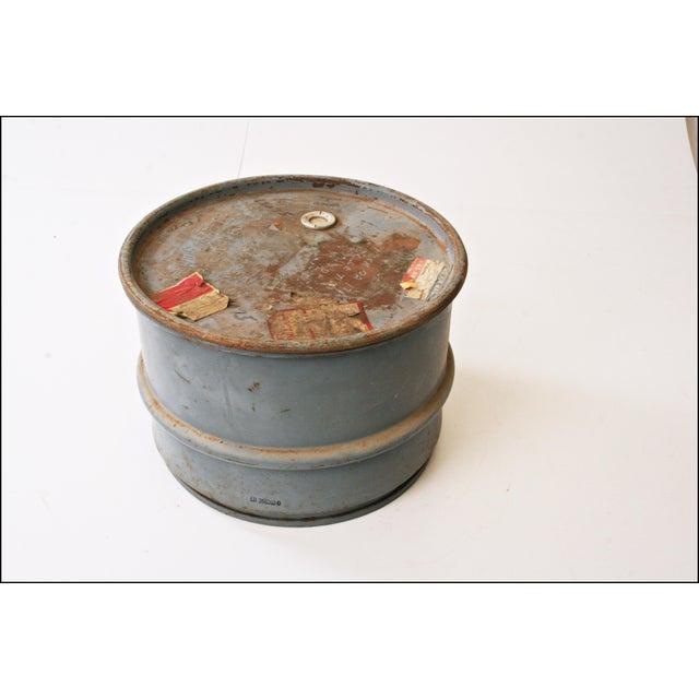 Vintage Industrial Gray Metal Barrel with Lid - Image 6 of 11