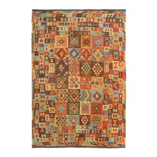 "Kilim Arya Haywood Gray & Red Wool Rug - 6'4"" x 10'"