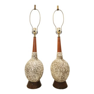 Vintage Textured Orb Table Lamps - A Pair