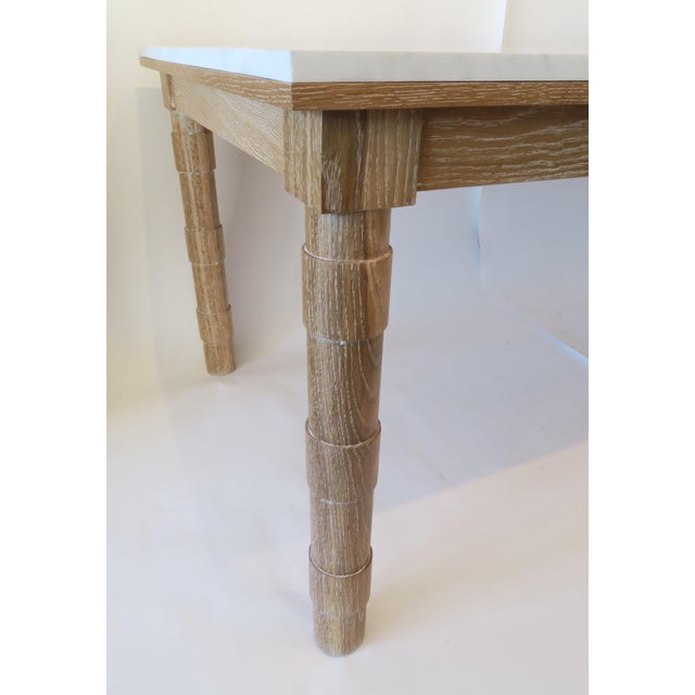 Custom Cersued Oak & Marble Dining Table - Image 5 of 6