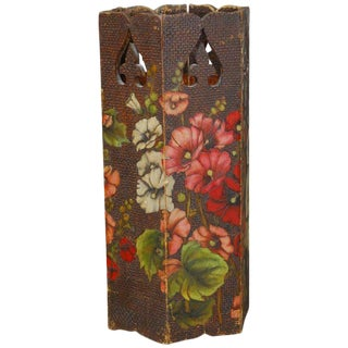 Moorish Floral Polychrome Carved Umbrella Stand