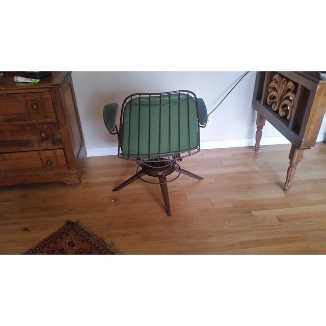 Image of Vintage Olive Green Homecrest Wire Swivel Chair