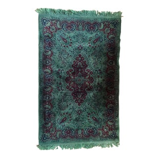 Vintage Over Dyed Distressed Green Wool Rug - 3 x 5