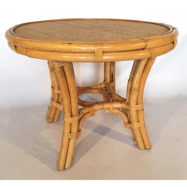 Vintage Palm Beach Cane and Rattan Round Side Table - Image 2 of 7
