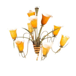 Vintage Glass Tulip Chandelier