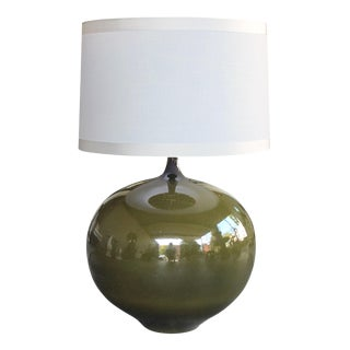 Impressive Danish, 1960s Olive-Green Glazed Orb-Form Lamp