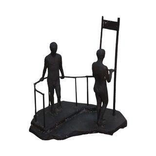 Vintage Two Male Nudes Bronze Sculpture
