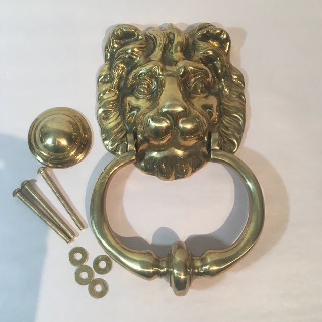 Brass lion 39 s head door knocker chairish - Brass lion head door knocker ...
