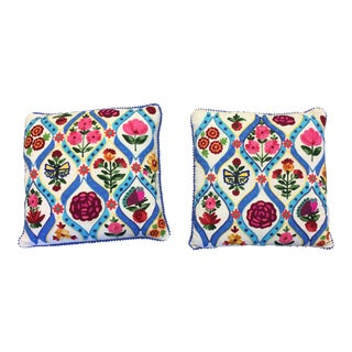 Floral Blue Patterned Pillows - A Pair