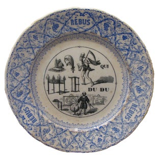 Antique French Transferware Rebus Plate