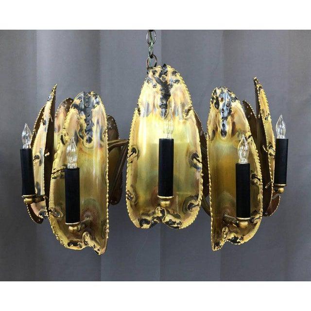 Tom Greene for Feldman Brutalist Brass Chandelier - Image 2 of 9