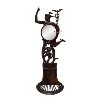 Antique Mirrored Oak Figural Mercury Hall Tree