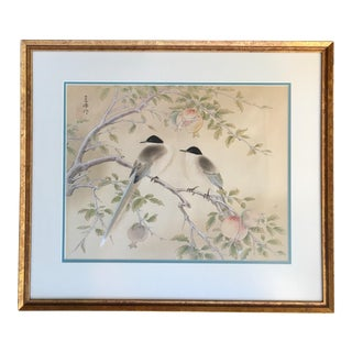 Chinese Pair of Birds Perched in a Pomegranate Tree Painting
