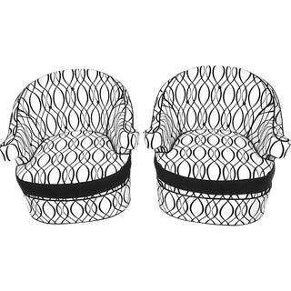 1960s Horseshoe Frame Swivel Arm Chairs - A Pair