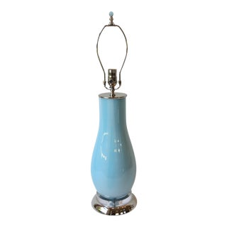 Pale Blue & White Swirl Glass Table Lamp