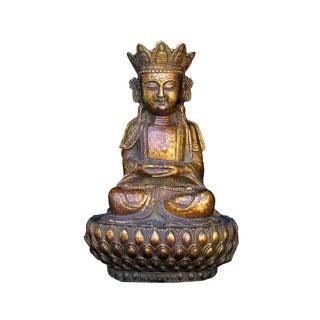 Chinese Bronze Sitting Buddha on Lotus Stand Statue