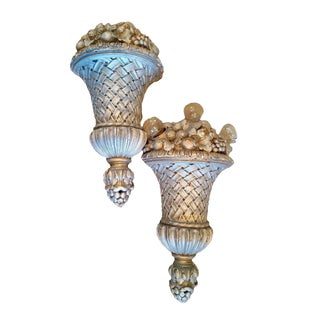 Vintage French Fruit Basket Sconces - A Pair