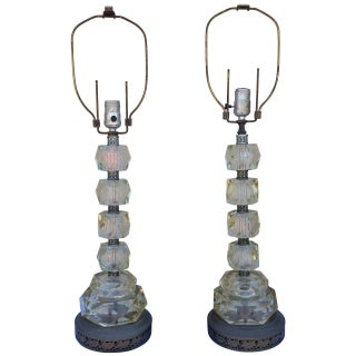 Mid-Century Glass Cut Table Lamps - A Pair