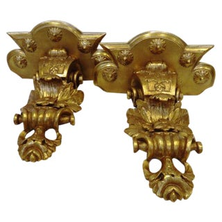 Louis XIV Carved Wall Brackets by Mirror Fair-Pair