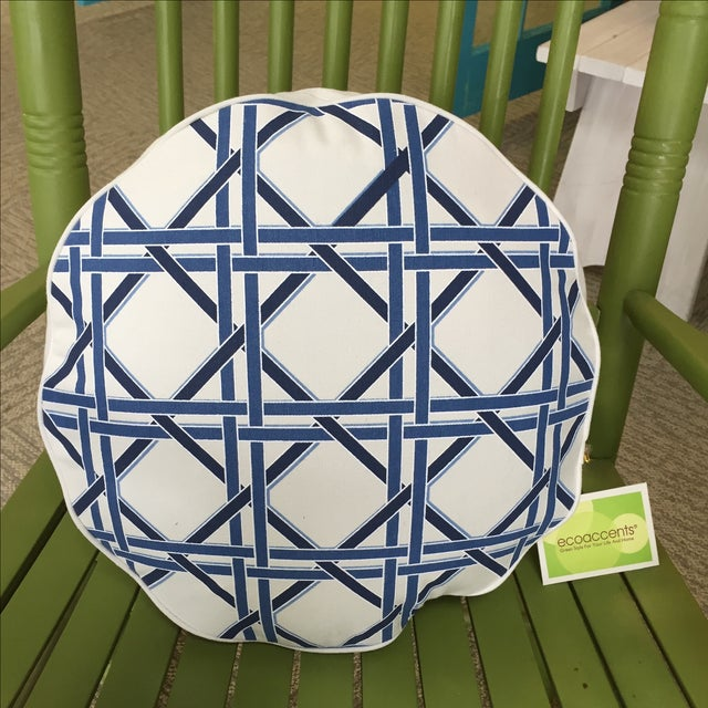 Eco Accents Blue Cane Canvas Pillow - Image 2 of 4