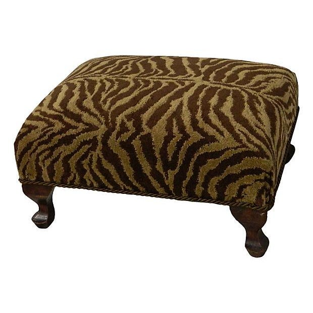 Image of Vintage Chenille Tiger Ottoman