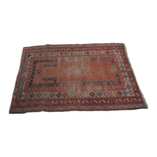 Distressed Oushak Rug- 3′ × 4′4″