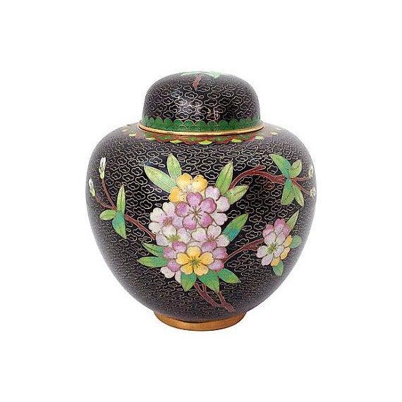Black Cloisonné Ginger Jar - Image 1 of 3
