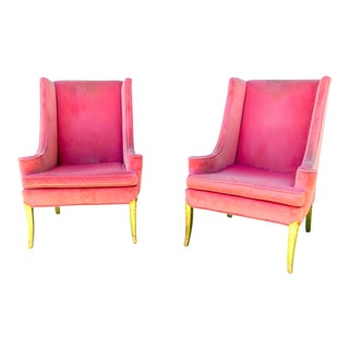 Vintage Hollywood Regency Bubblegum Chairs - S/2