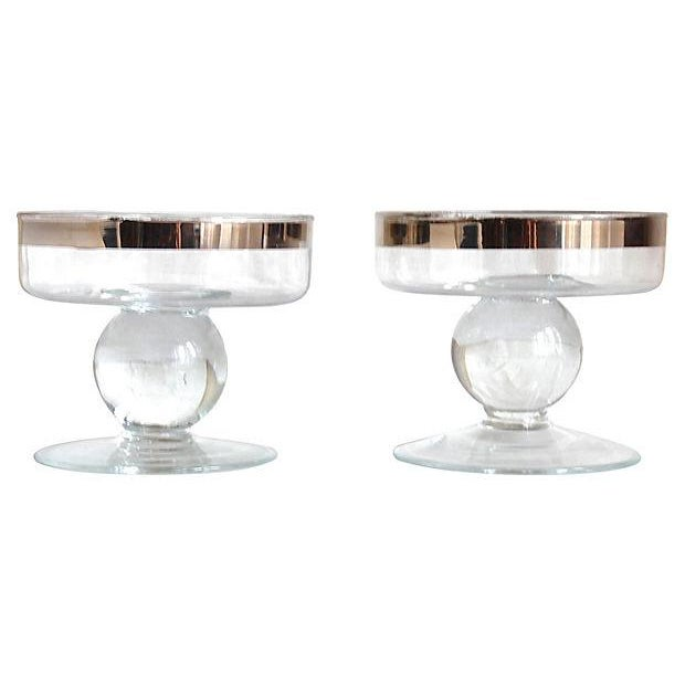 Silver Rimmed Footed Bowls - Pair - Image 1 of 3