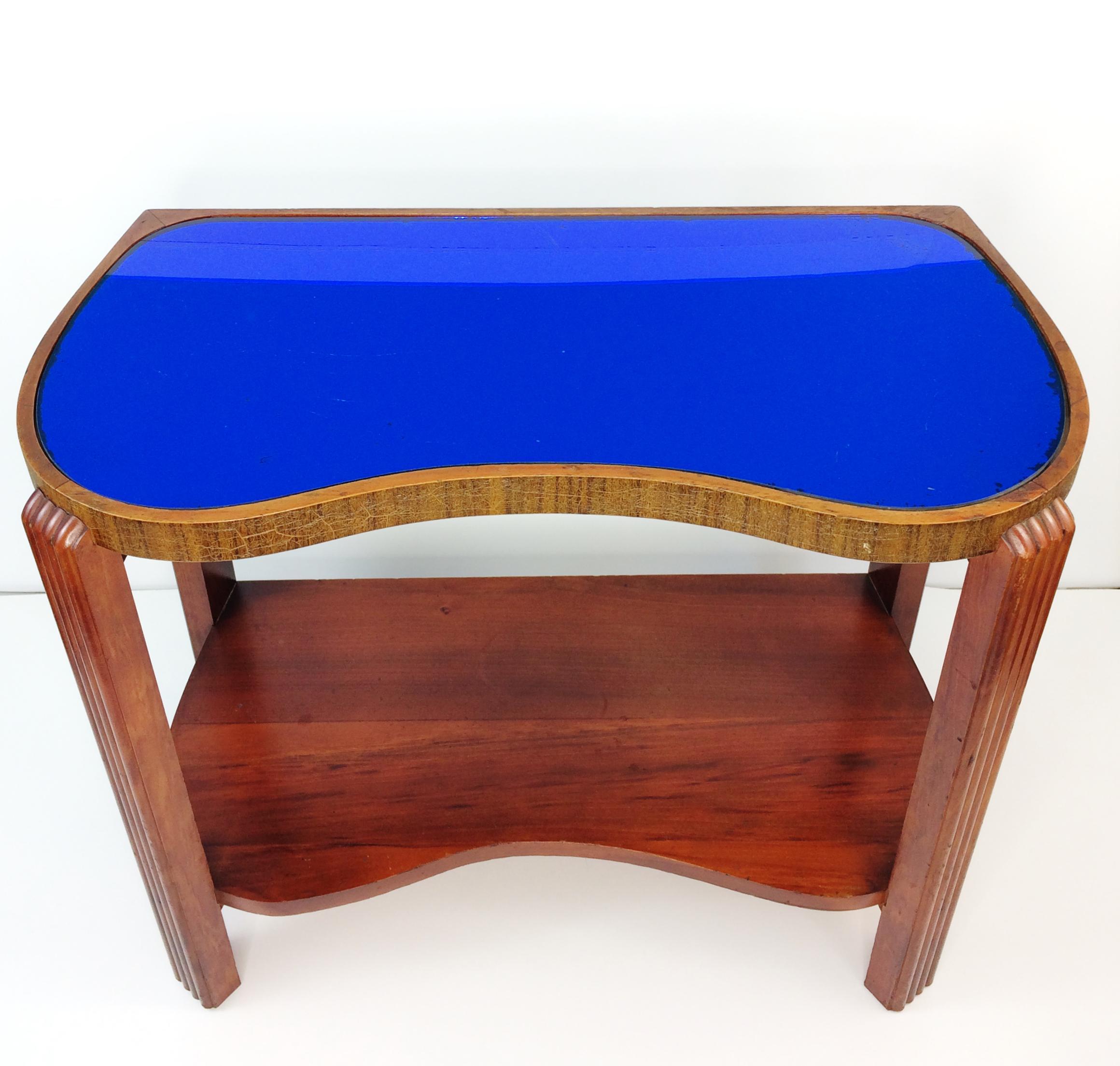 Superior Art Deco Cobalt Blue Glass Wood Side End Table   Image 2 Of 10