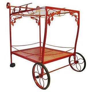 Red Wrought Iron Bar Cart