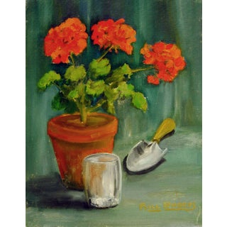 Geraniums Oil on Board Painting
