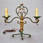 Image of Pair French Two Light Green and Gilt Metal Candelabra Table Lamps