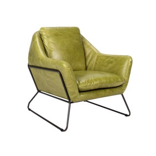 Lime Green Leather Club Chair