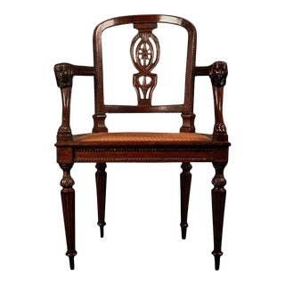 Fine Empire Carved Fruitwood Lyons Fauteuil, France, Early 19th Century