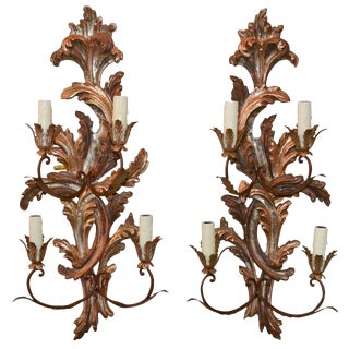 Pair of Italian Carved Wood Sconces
