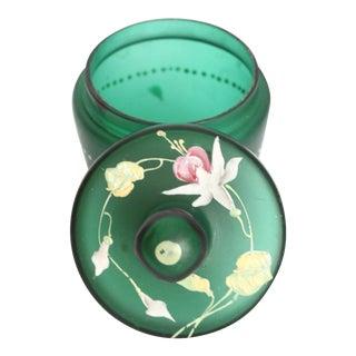 Antique Green Hand Blown Glass Enamel Flowered Boudoir Jar
