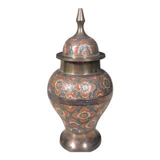 Vintage Brass Enameled Urn