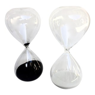 Black and White Sand Hourglasses - a Pair