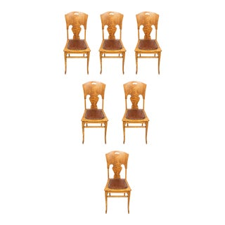 Antique Tiger Oak Dining Chairs, Set of 6