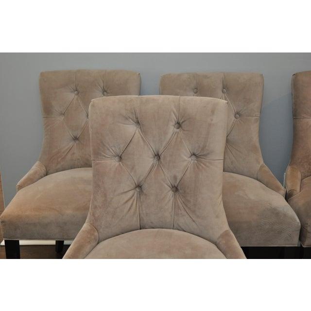 Velvet Upholstered Dining Chairs - Set of 6 - Image 3 of 8
