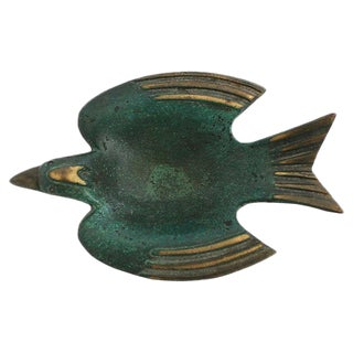 Mid Mod Brass Bird Trinket Dish
