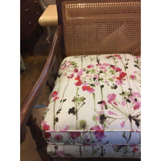 Vintage Cane-Back Spring Floral Settee - Image 3 of 7