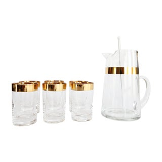 Mid-Century Cocktail Pitcher & 6 Glasses