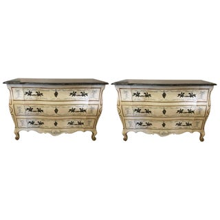 Painted Bombe Marble-Top Commodes by John Widdicomb - A Pair