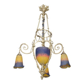 Exquisite Art Deco Bronze and Art Glass Chandelier by Muller Freres