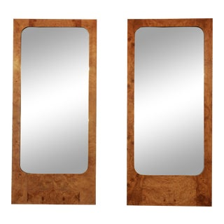 Milo Baughman for Lane Burled Olive Wood Framed Mirrors - A Pair