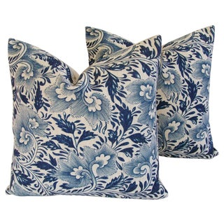 Blue Floral Linen Down/Feather Pillows - a Pair