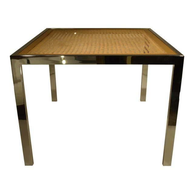 Milo Baughman Vintage Mid-Century Chrome, Glass and Wicker Game Table - Image 1 of 4